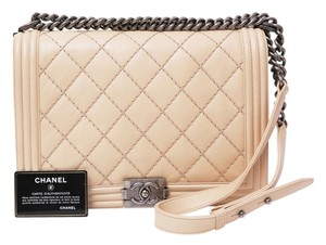 Chanel Leboy Flap Quilted Leather Gunmetal Shoulder Bag