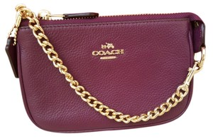 Coach NEW COACH logo leather clutch phone chian bag wallet Wristlet purple