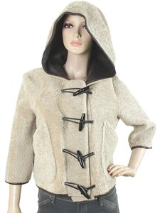 Burberry Leather Fur Crop Top Hooded Beige, Brown Leather Jacket