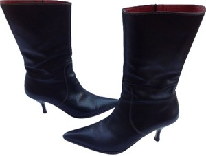 Coach Sammi Pointy Toe Leather Black Boots