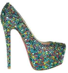 Christian Louboutin Metallic teal leather Pumps
