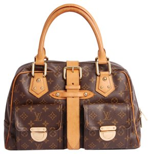 Louis Vuitton Manhatten Classic Monogram Designer Chic Elegant Pre Owned Gm Satchel in Brown