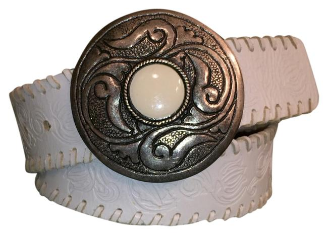 Item - White Silver Tooled Leather Belt