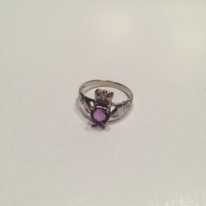 14kt White Gold/amethyst Claddagh Ring