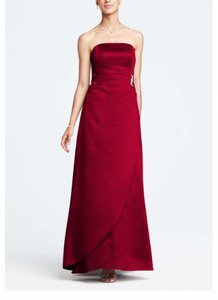 David's Bridal Apple Red Satin A Line Formal Bridesmaid/Mob Dress Size 12 (L)