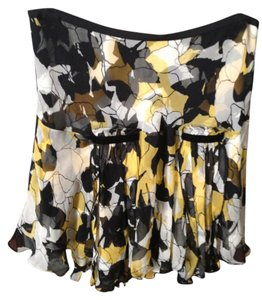 Diane von Furstenberg Silk Silk Pleated Ruffle Mini Skirt Black, Yellow, and White