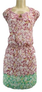 Studio M short dress Purple Fully Lined Polyester Cap Sleeve Floral Print Machine Wash on Tradesy