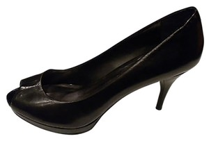 Nine West Black Peep Toe Leather Platform Low Medium Work Business Casual Black Leather Pumps