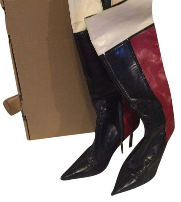 Item - Black White Red Tricolor Looker Boots/Booties Size US 9.5 Regular (M, B)