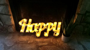 Happy Yellow Metal Marquee Light Up Sign