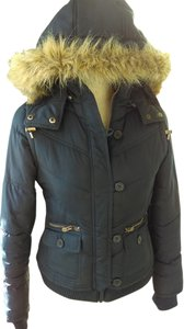 Mossimo Supply Co. Vest Faux Fur Polyester Coat Puffy Blue Jacket