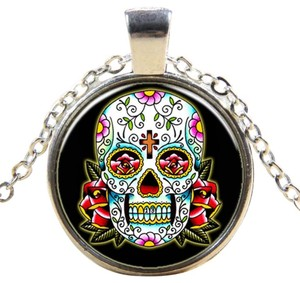 Hot Multi Colored Skull Glass Cabochon Necklace Free Shipping