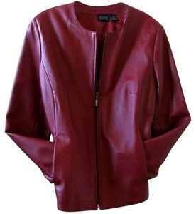 Hillard & Hanson Leather Blazer Dark Red Leather Jacket