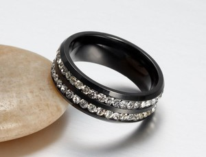 2 Row Crystal Black Stainless Steel Band Ring Free Shipping