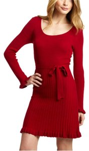 Spense short dress Carmine Red Red Ribbed Tie Waist Scoopneck Ruffle Hem on Tradesy