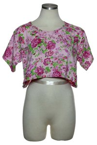 LF Floral Short Sleeve Crop Top Pink