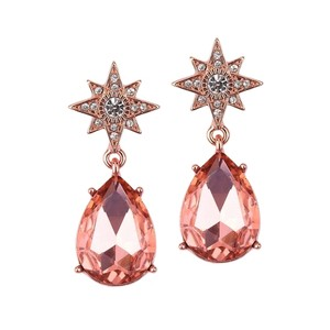 Mariell Rose Gold Celestial Stars Bridal Or Prom Teardrop Earrings 4347e-rg