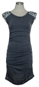 LF short dress Gray Stretch Knit Lace Shoulder Ruched on Tradesy