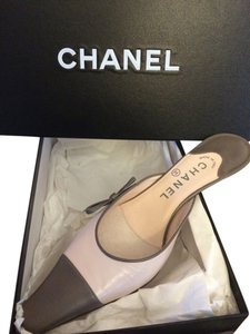 Chanel Light Pink/Gray Mules