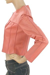 Chanel Leather Cropped Lambskin Pink Leather Jacket