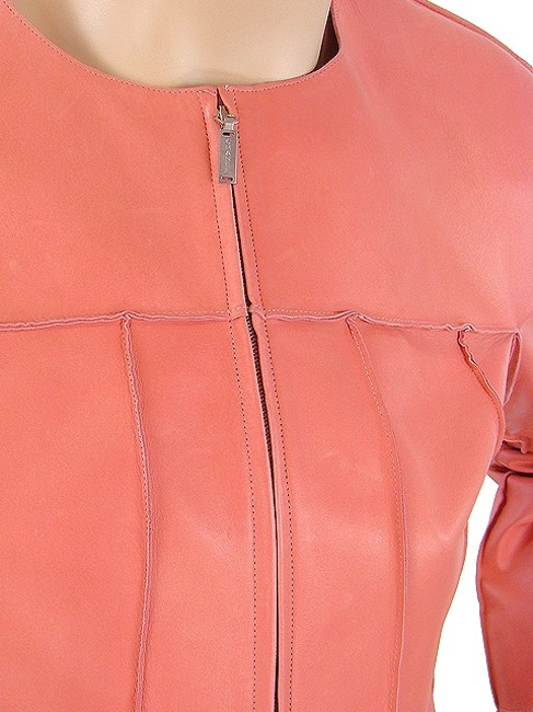 Chanel Cropped Lambskin Pink Leather Jacket