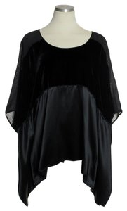Lafayette 148 New York Velvet Silk Combo Batwing Top Black