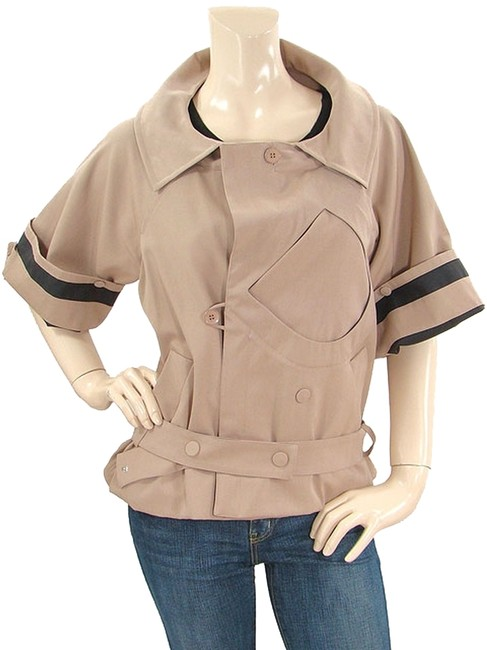 Chloe Trench Cropped Belted Beige Jacket