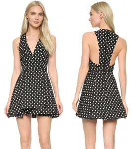 Alice + Olivia + Open Back V Neck Party Fit And Flare Dress