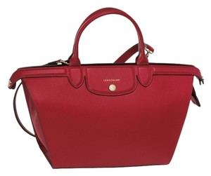 Longchamp Carmine Heritage Pliage Satchel in red