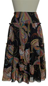 Trina Turk Paisley Woven Printed Silk Skirt Black Multi