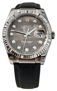 Rolex Rolex Datejust 36MM 18k White Black Mother Of Pearl Diamond Dial Fluted Bezel Black Crocodile Strap Deployant Buckle Vintage