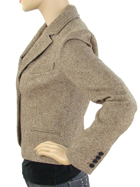 Chloé Tweed V-neck Knit Wool Brown, Beige Blazer