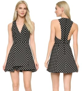 Alice + Olivia Tanner Open Back V Neck Party Fit And Flare Dress