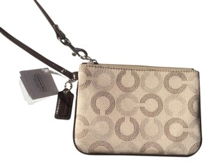 Coach Ashley Dotted Op Art Wristlet in Khaki/Mahongany
