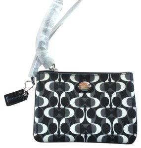 Coach Black Dream Peyton Canvas Wristlet in black/white