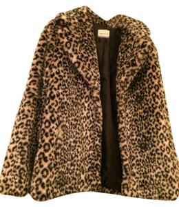 DKNY Animal Print Leopard Faux Fur Fur Coat