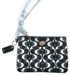 Coach Small Dream Peyton Coated Canvas Wristlet in black/white