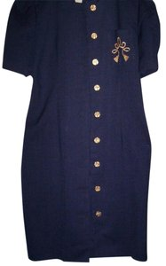 Jessica Howard Size 10 Navy Blue Short Sleeves Work/office Dress