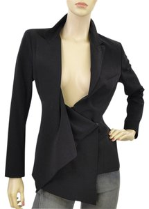 Donna Karan A-line Wool Drape Draped Black Blazer