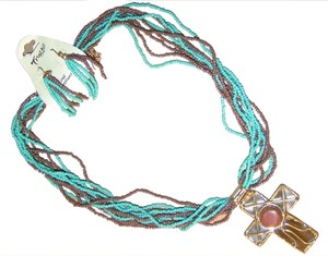 Other 2pc Beaded Brown/Turquoise Western Cross Necklace Earring Set Free Shipping