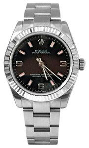 Rolex Rolex 31MM Oyster Perpetual Stainless Steel Black & Pink Silver Arabic 3, 6 ,9 Dial With 18K White Fluted Bezel Oyster Bracelet Vintage