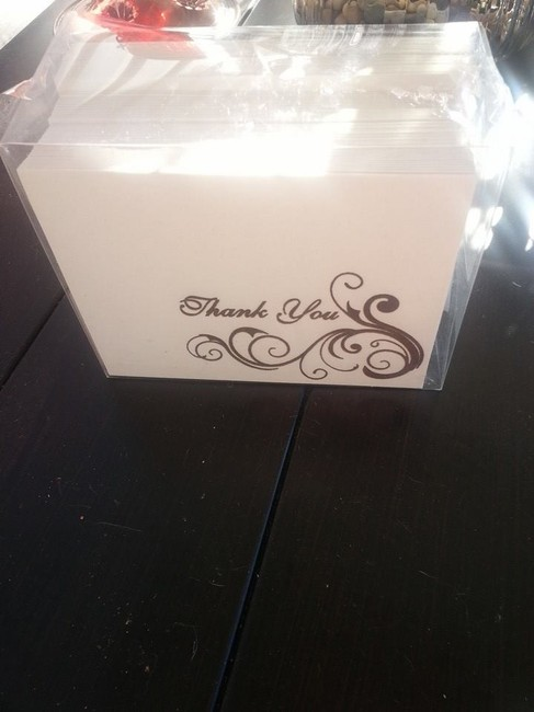 Item - Ivory and Brown 50 Thank You Notes with Envelopes