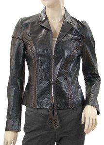 Fendi Leather Stitch Lambskin Brown Leather Jacket