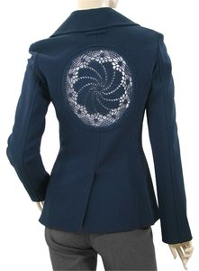 Jean-Paul Gaultier Crochet Wool Navy Blue Blazer