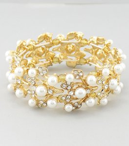 Open Weave Pearl And Rhinestone Wedding Bracelet