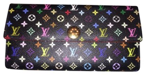 Louis Vuitton RARE & DISCONTINUED! Louis Vuitton Sarah Wallet Black Multicolor Multicolore Porte Tresoe International PTI