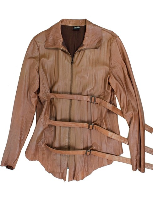 Jean-Paul Gaultier Sheepskin Belted Lambskin Strappy Brown Leather Jacket