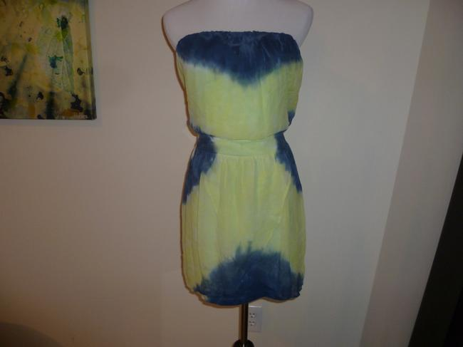 Gypsy05 short dress Blue Green Mini Tie Dye Slik Stretch Crepe Strapless Summer on Tradesy