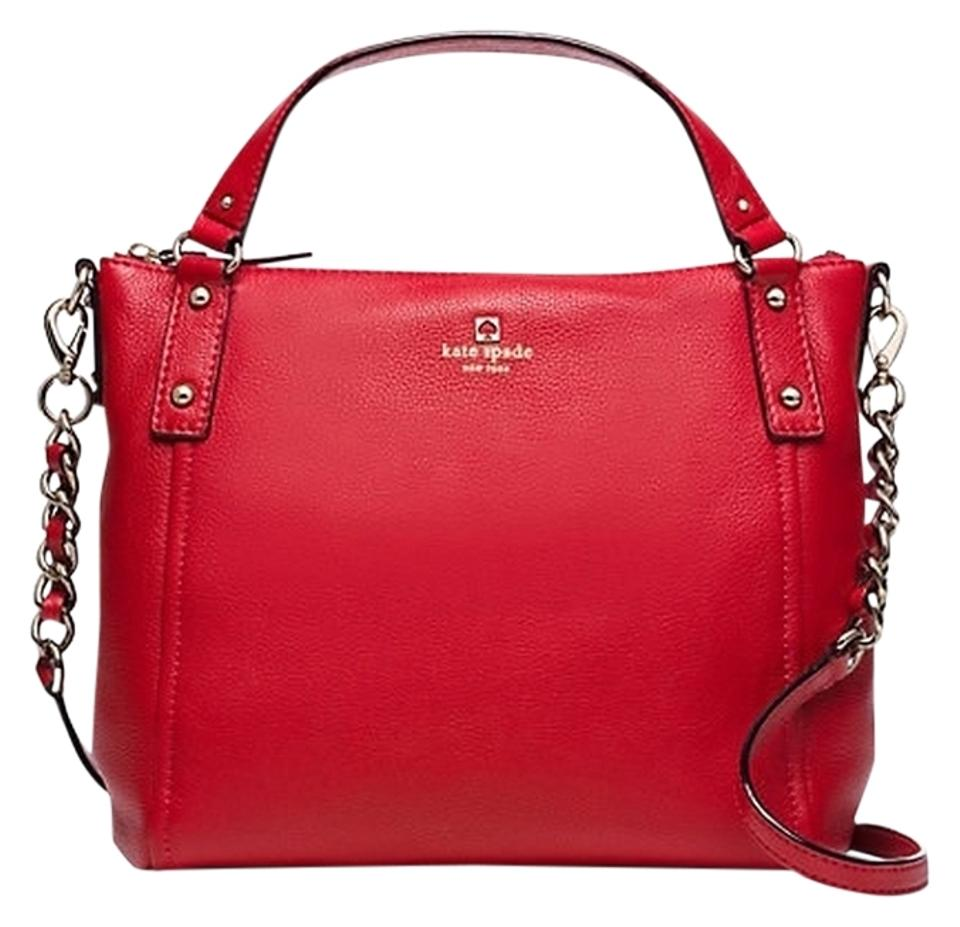 478eb9f2e999 Kate Spade Pine Street Small Kori Wkru3472 Red Pebbled Leather Satchel 47%  off retail