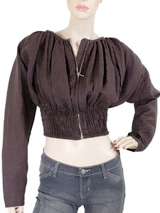 Jean-Paul Gaultier Trumpet Linen Pleated Bomber Brown Jacket